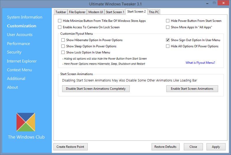 Download Ultimate Windows Tweaker for Windows 8 v3 0