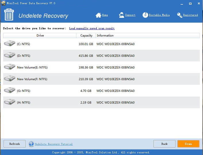 MiniTool Power Data Recovery Free Edition v7.0 screenshot 1 / 2