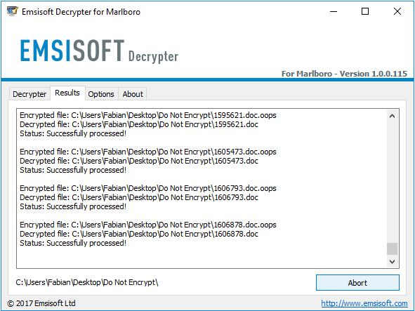 Download Emsisoft Decrypter for Marlboro v1 0 0 116