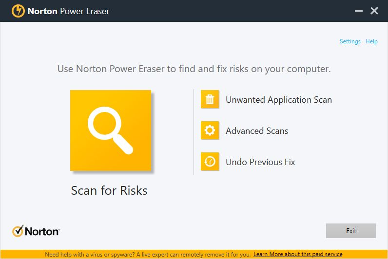 Norton Power Eraser v4.0 Beta screenshot 1 / 2