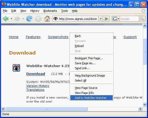 Download Firefox extension for WebSite-Watcher v1 0 7