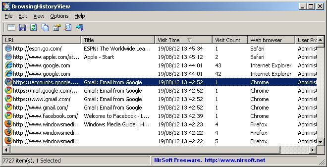 Download NirSoft BrowsingHistoryView (64-bit) v1 65 (freeware