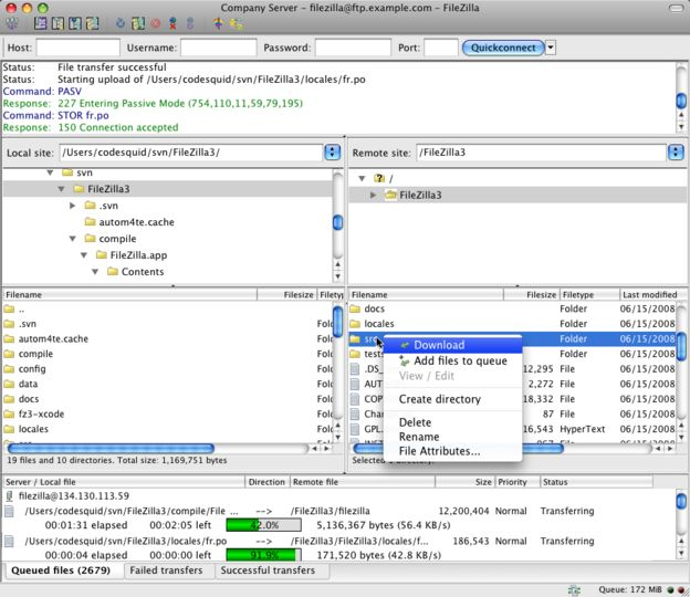 filezilla mac os x 10.4.11