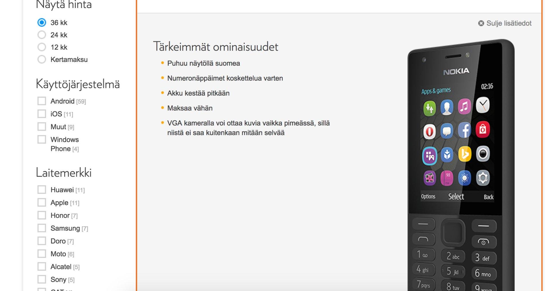Nokia Mallit