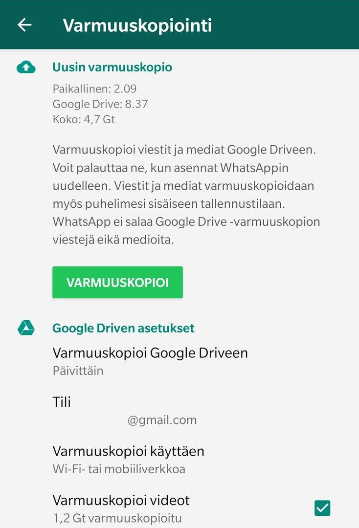 Varmuuskopiointi Android