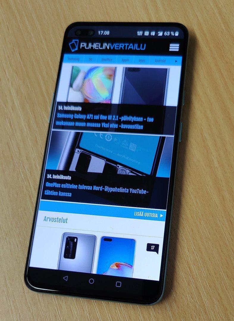 OnePlus Nord, edestä