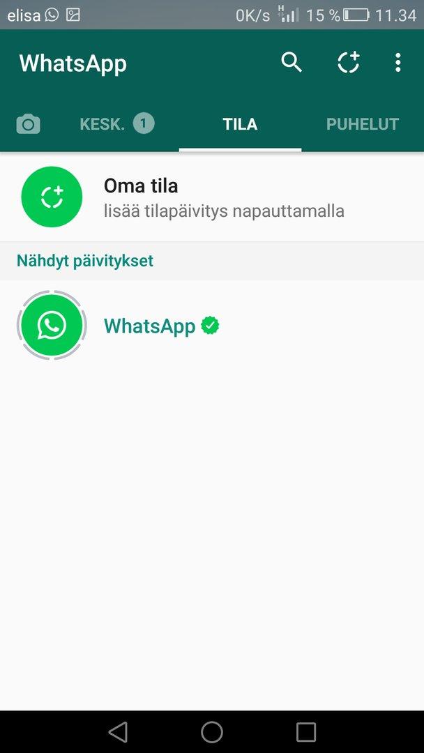 Whatsapp Tilapäivitys