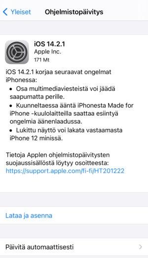 iOS 14.2.1 korjaa iPhone 12 minin ongelman näytössä