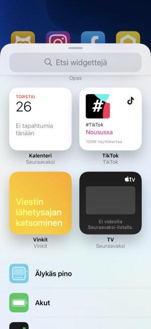 iOSn näkymä kaikille saataville oleville widgeteille