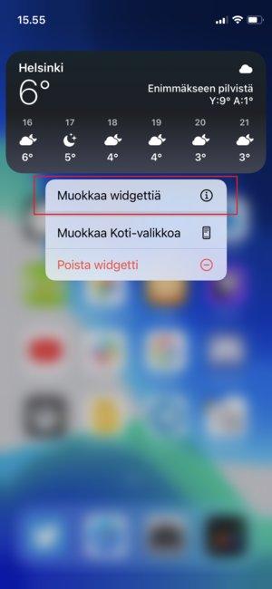 Widgetin muokkaaminen iPhonen kotinäytöllä