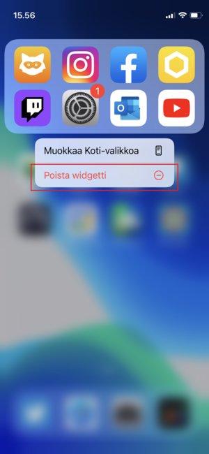 Widgetin poistaminen iPhonen kotinäytöltä