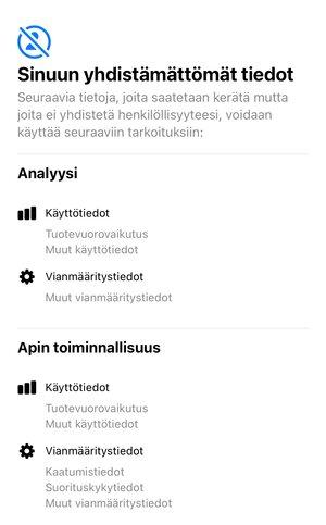 DuckDuckGon ilmoittamat tiedot, joita selain kerää käyttäjistä iOSllä