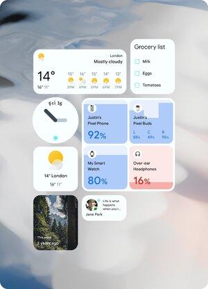 esimerkkejä Android 12:n widgeteistä
