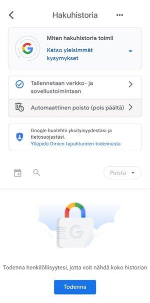 Googlen Omat näkymä piilotettuna lisätodennuksen taakse