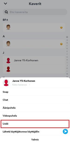 Snapchatin kaverit lisää vaihtoehto