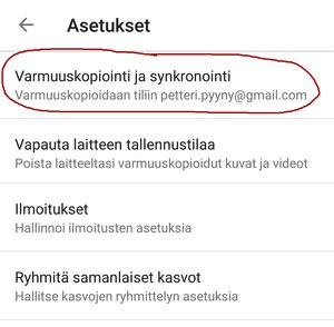 Google Kuvat - asetukset