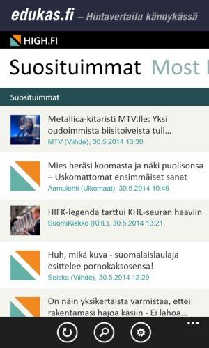 High.fi mobiilisovellus, tiivis listaus
