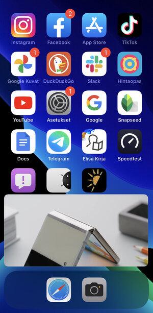 kuvakaappaus videosta toistumassa minisoittimessa iOS-puhelimella