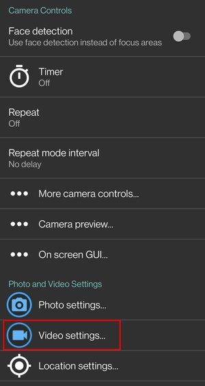 Open Camera settings screen