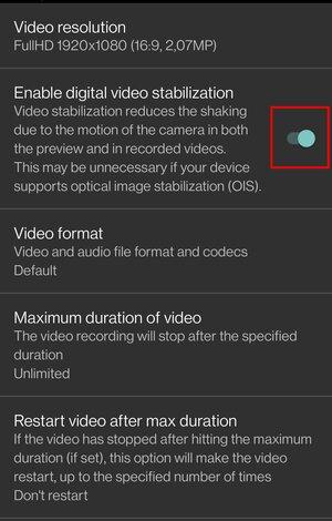 Enable digital video stabilization