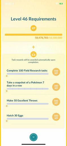 Pokemon Go level 46 requirements
