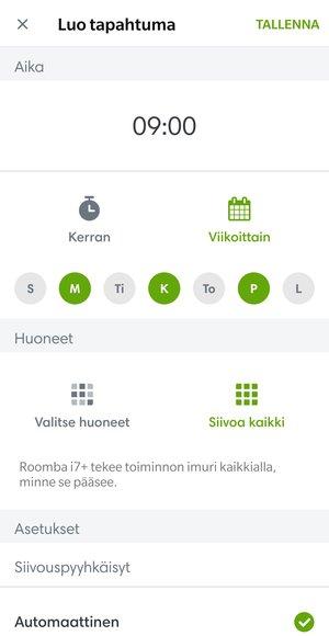 Ajastuksien säätäminen Roomba i7+:aan