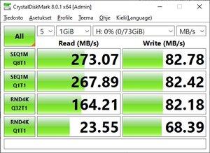 Vanhan SATA-väyläisen SSD-levyn suorituskyky