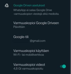 Google Drive -varmuuskopioinnin suositeltavat asetukset