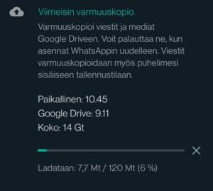 WhatsApp lähettää varmuuskopion Google Driveen
