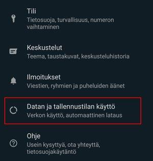 WhatsApp, Datan ja tallennustilan käyttö