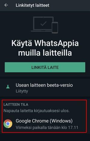 Alareunassa näkyvät nyt tietokoneet, jotka on kytketty WhatsAppiin