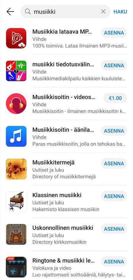 AppGalleryn hakutulokset musiikille