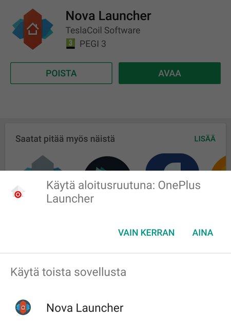 Android ehdottaa Nova Launcherin vaihtoa aloitusnäyttösovellukseksi