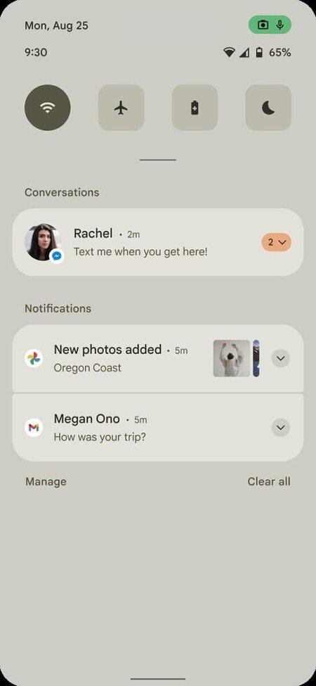 Android 12 ilmoitusalue