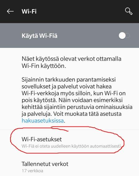 Android Pie: Automaattinen WiFi pois päältä, kohta 3