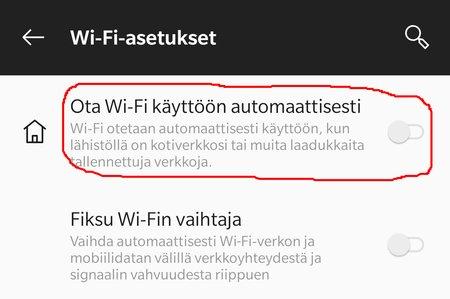 Android Pie: Automaattinen WiFi pois päältä, kohta 4