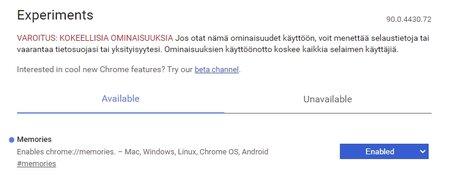 Google Chrome, Muistot