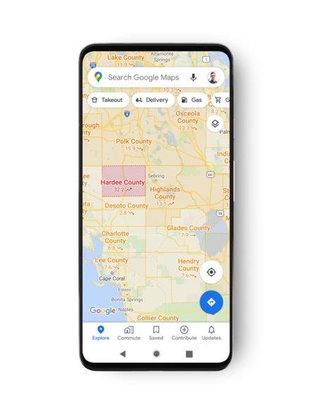 Koronan esiintymisalue Google Mapsissa