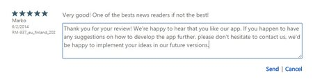 Reply to Windows Phone app review