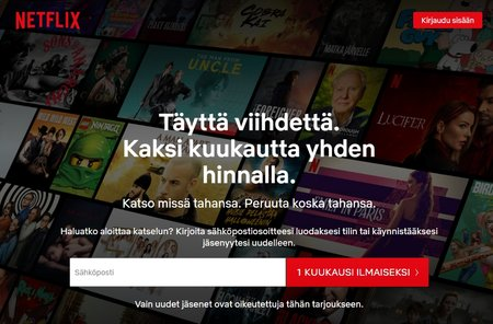 Netflix, 2 kuukautta yhden hinnalla
