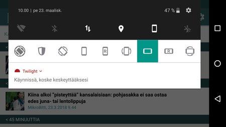 Android pakotettuna vaakatasoon