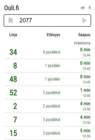 Ouli.fi -palvelun näkymä, saapuvat bussit valitulle pysäkille