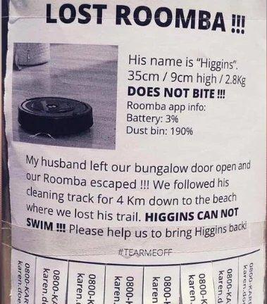 Ilmoitus kadonneesta Roombasta