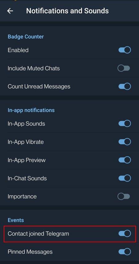 Poista käytöstä joined -ilmoitukset Telegramissa