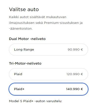 Tesla Model S Suomen hinnasto 2021