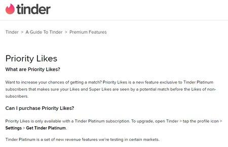 Tinder Platinum: Prioriteettitykkäykset