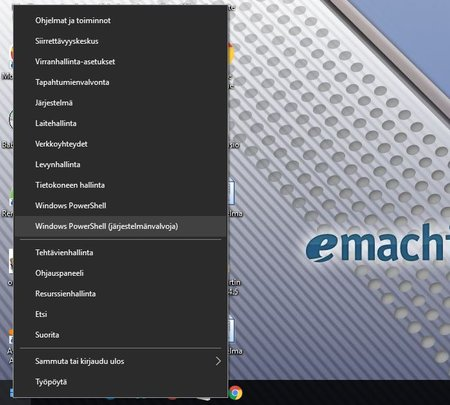 Käynnistä PowerShell Windows 10:ssä järjestelmänvalvojana