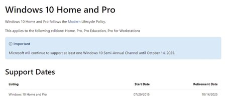 Windows 10 retirement date listed on Microsoft support page