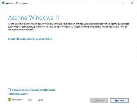 Windows 11 asennusta aloitellaan