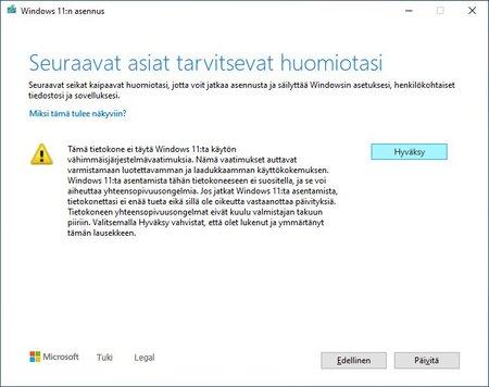 Windows 11 asennuksessa pitää ohittaa varoitukset suorittimen ja TPM:n ongelmista